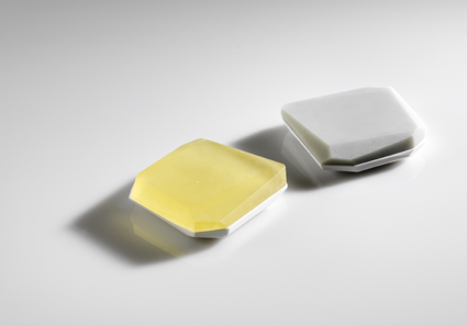 Flat Faceted Boxes Yellow And Opaque Grey